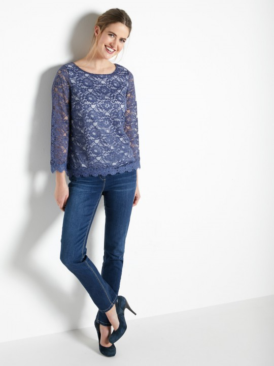 Blouse in guipurekant, boothals