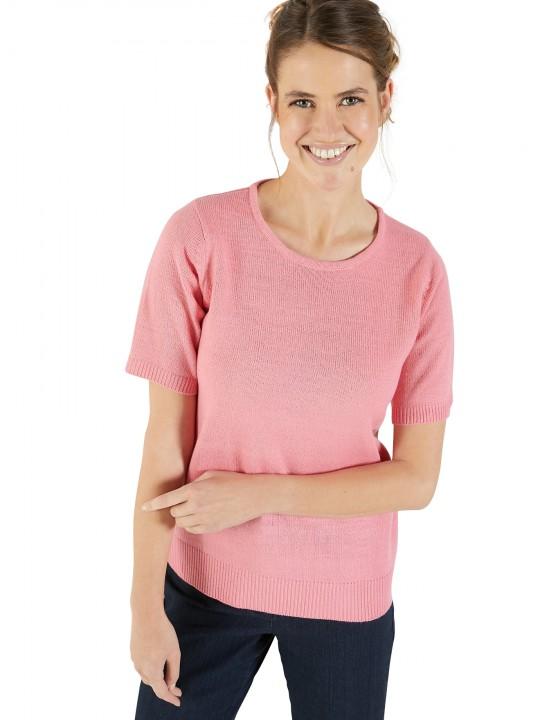 Pull encolure ronde manches courtes