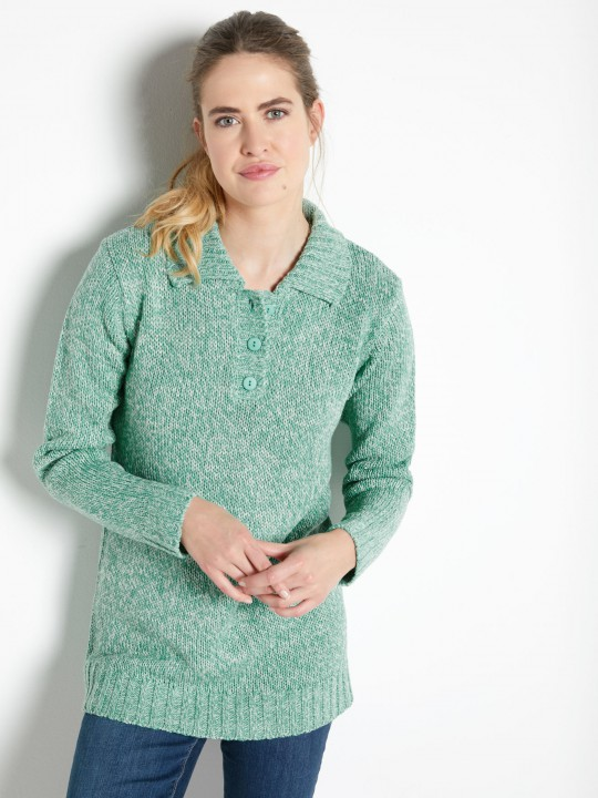 Pull col polo chiné manches longues