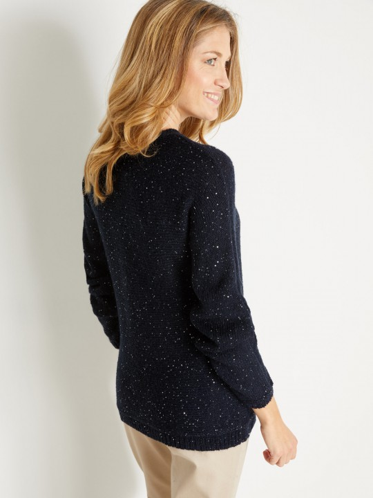 Pull 8% mohair, à sequins