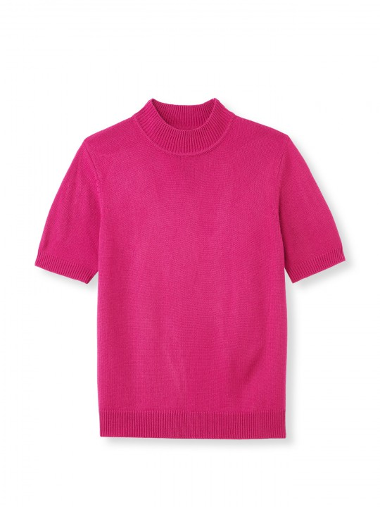 Pull col montant manches courtes