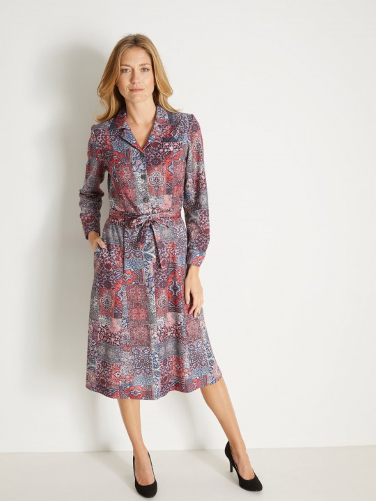 Robe col tailleur manches longues