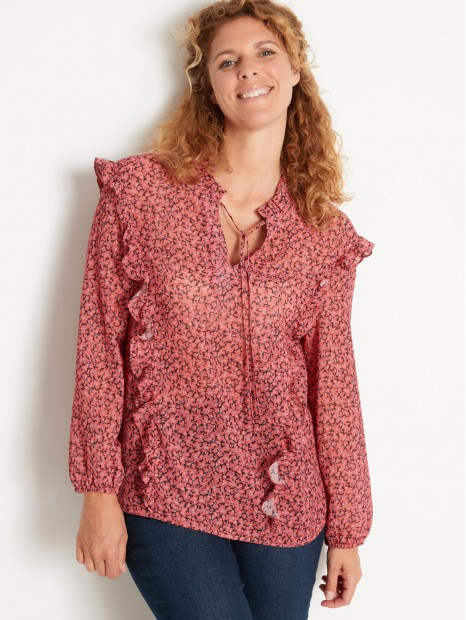 Blouse chic à volants